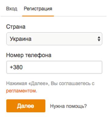 Вводим данные для регистрации